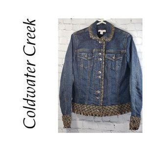 Coldwater Creek Blue Denim Jacket Tweed Fringe 4